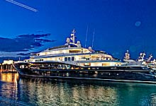 Carinthia VII Superyacht photo at night, Port Vauban, Antibes, Photo with HDRetouching