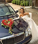 Lifestyle Photography Princess wedding with an exclusive decorated Maybach 62 automobile for hotel advertising and hotel brochures.
