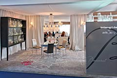 Monaco Yacht Show Baccarat Crystal Lounge for Yacht Interiors located between the Le Nôtre restaurant and the Lanson Champaign bar