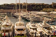Monaco Yacht Show, Fraser Yachts in the foreground, Port Hercule Monaco